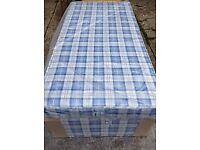 Brand New Comfy Basic Single bed set in Blue Check fabric FREE delivery