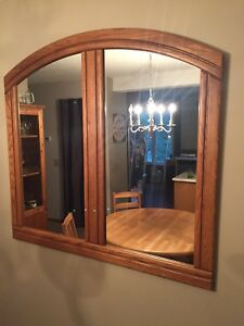 Solid wood frame mirror