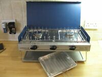 Unused Camping cooker twin burner with grill