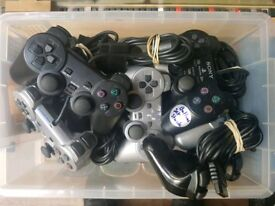 11 PlayStation 2 control pads All have some kind of fault all look in excellent cosmetic spares .