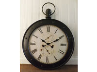 Large Vintage Style White & Black Metal Fob / Pocket Watch Wall Clock 80 cm NEW