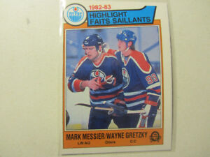 210 1983-84 OPC hockey cards: 3 Gretzky, Bourque, Messier, Bossy