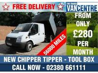 FORD TRANSIT 350 1 WAY DOUBLECAB TIPPER 125 BHP NEW TIPPER CHIPPER TOOL BOX