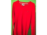 Red 'Hilfiger' Jumper Mens L(M), new & genuine. (£25 ono)