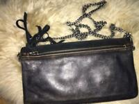 All Saints Black leather and suede hand/clutch bag with heavy metal chain (detachable)