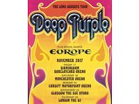 3 tickets for Deep Purple Long Goodbye Tour @ Glasgow SSE Hydro