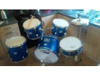 drum kit with cymbals and pedals