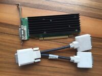 Nvidia Quadro NVS 290 (Dell TW212) 256MB DDR2 PCIx16 with DMS 59 splitter cable.