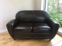 Sofa - compact 2 seater - brown leather - good condition