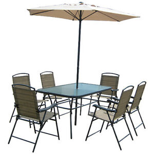 PATIO SET - TABLE + 6 CHAIRS + UMBRELLA