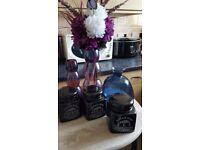Tea, Coffee, Sugar + 2 Vases inc flowers + 1 Large Blue Vase