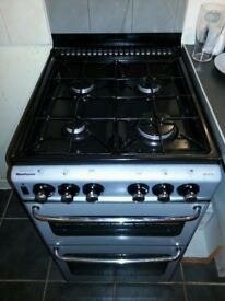 Gas cooker, 50cm wide, grey/silver , Glass lid