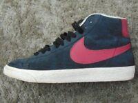 Black And Red Nike Unisex Hightop Shoes, UK Size 8