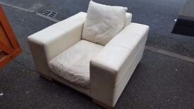 Square Arm White Leather Armchair. FREE delivery in Derby