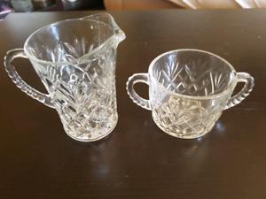 Pinwheel crystal glasses and sugar bowl/creamer