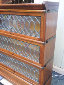 antique barrister bookcase 3 glass lead doors, restored,drawer