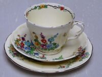 Set of 6 Crown Staffordshire Trio (cup, saucer, and side plate) Hollyhocks - VGC