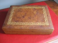 French VINTAGE Playing Card LEATHER covered Wooden Box - Holds 2 Decks of Cards -