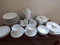 White with thin gold rim 43 piece dinner service