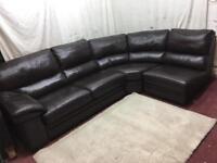 Brown leather corner sofa comfortable