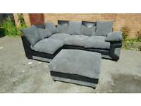 Stunning BRAND NEW black and grey jumbo cord corner sofa and footstool.can deliver