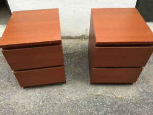 IKEA MALM 2-drawer chest, brown stained ash veneer