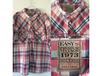 Men's EASY 3xl Short Sleeved Checked Shirt Pink White Navy Blue Brand New Without Tags