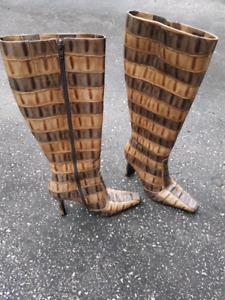 One of a kind SNAKE SKIN DESIGNER BOOTS