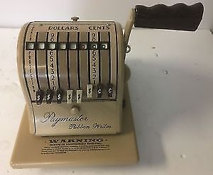 Vintage Paymaster ribbon cheque writer 8000 with key & stamp