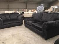 Brand new black crushed velvet sofa suite