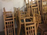 Over 100 USED chairs and tables available for PICK UP..