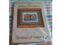 New cross stitch kit with ribbon embroidery by Twilleys. Picture is of 1932 Timbered Cottage.