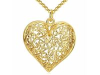 Openwork Heart Floral Pendant Necklace
