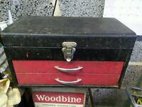 Talco Tool Box / Cabinet. Top compartment and two drawers. Lockable.