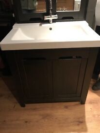 Bathroom sink, under cupboard and free standing wall unit