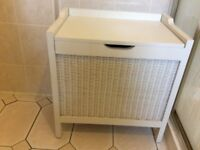 Bathroom White wood, Woven Chest and Drawer set