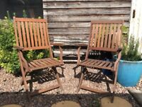 2 foldable wooden patio chairs with armrests (£20/ea or £35/pair)