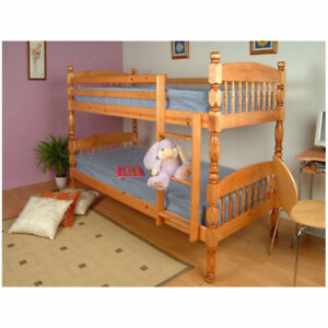6 INCH POST SOLID PINE BUNKBEDS /ORTHO MATTRESSES