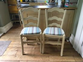 Shabby Chic Dining Chairs (4) - Finished in Annie Sloan chalk paint & fabric