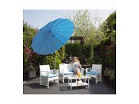 Brand New Miami 4-Piece Rattan-Effect Set White Rattan Effect Garden Patio Set With Cushions