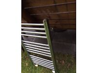 Heated bathroom towel central heating radiator - Chrome stainless steel