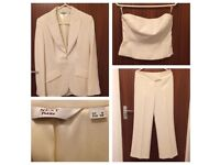 Next petite 3 piece cream suit size 8
