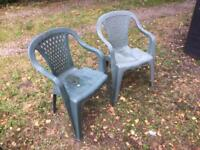 Pair of green Patio/garden chairs
