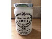 VINTAGE Milk White James Keiller Dundee Marmalade Jar