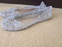 Black or Silver Glitter Sandles - BRAND NEW
