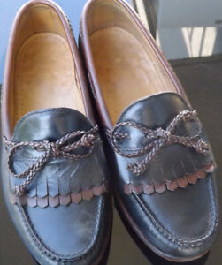 ALLEN EDMONDS WOODSTOCK Mens Black & Brown Loafers Size 7.5 EEE