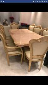 Magnificent Italian Dinning table, chairs, coffee table, nest table and mirrored cupboard