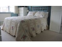 Antique cream and cotton lace embroidery bedspread/quilt, 2 x pillow case shams and a curtain