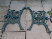 pair of heavy cast iron bench ends