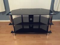 Black Tempered Glass TV Stand with Chrome Legs